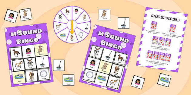 m Sound Bingo Game with Spinner - m, bingo, spinner, bingo game