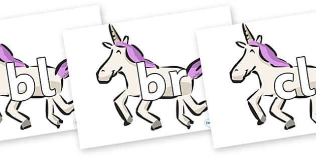 Initial Letter Blends on Unicorns - Initial Letters, initial letter, letter blend, letter blends, consonant, consonants, digraph, trigraph, literacy, alphabet, letters, foundation stage literacy