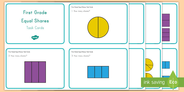First Grade Equal Shares Task Cards - Maths, task cards, fractions, shares, US, shape,