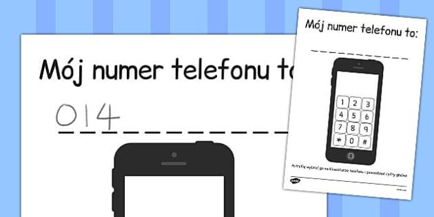 Rozpoznawanie i używanie liczb Wybieranie numeru telefonu - edu , Polish