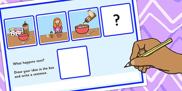 What Happens Next? Fill in the Blank Worksheet for 'Eating Ice Cream' - what happens, next, eat
