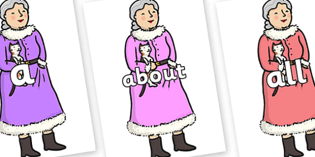 100 High Frequency Words on Mrs Clause to Support Teaching on The Jolly Christmas Postman - High frequency words, hfw, DfES Letters and Sounds, Letters and Sounds, display words