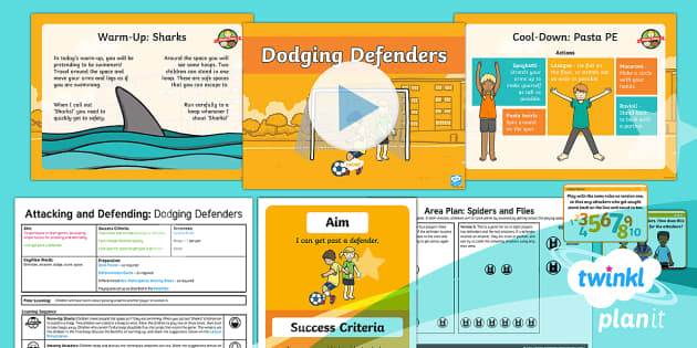 PlanIt - PE Year 1 - Attacking and Defending Lesson 5: Dodging Defenders Lesson Pack - Attacking, defending, dodge, player, team, game, ks1, planning, plans, powerpoint, game, physical, e