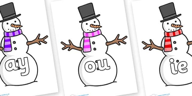 Phase 5 Phonemes on Snowman - Phonemes, phoneme, Phase 5, Phase five, Foundation, Literacy, Letters and Sounds, DfES, display