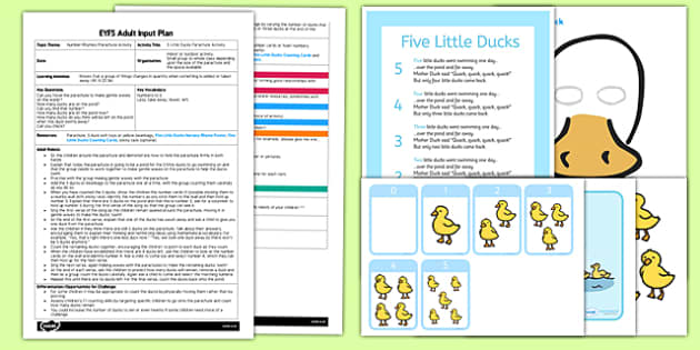 Five Little Ducks Parachute Activity EYFS Adult Input Plan and Resource Pack - early years activities, eyfs planning, counting, subtractions, mathematics, number