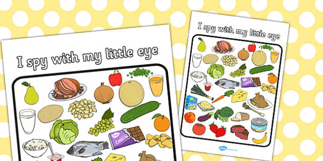 Food Themed I Spy With My Little Eye Activity - I spy, activity