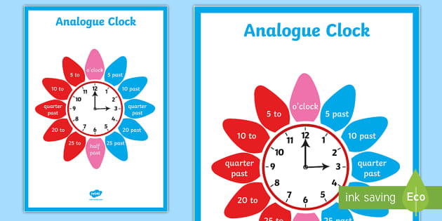 T N 5591 Analogue Clock Flower Display Poster on Jonah And The Big Fish Story Sequencing