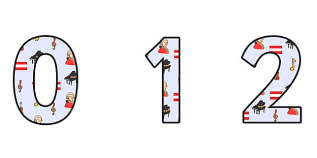 Wolfgang Armadeus Mozart Themed A4 Display Numbers - wolfgang amadeus mozart, mozart, display numbers, themed number, classroom number, numbers for display
