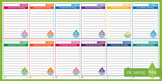 Monthly Birthdays Cupcake Page Border Pack - Themed Page Borders,  Handouts, Calendar, Activity Coordinators, Support, Ideas, Elderly Care, care