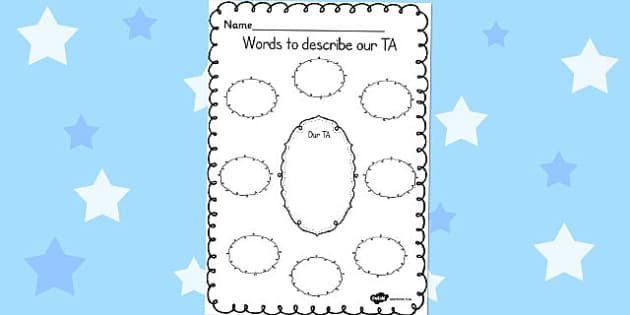 Words to Describe Our TA Template - words, describe, teaching assistant