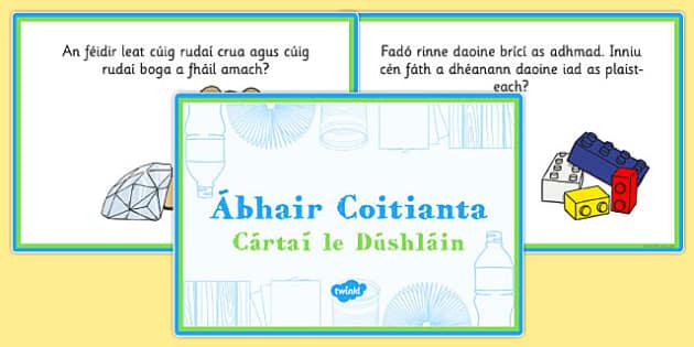 Everyday Materials Challenge Cards Gaeilge - roi, republic, ireland, irish, science, vocabulary, words, terminology, properties