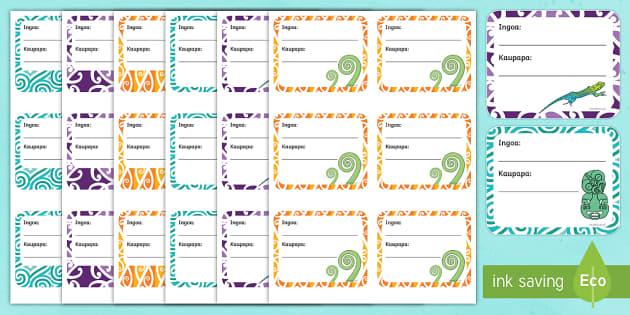 NZ themed book labels  Ngā tapanga pukapuka Labels - New Zealand Back to School, book labels