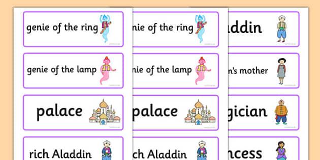 Aladdin Word Cards - aladdin, word cards, key words, stories