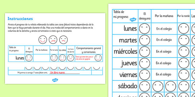 Home Behaviour Progress Chart Spanish - spanish, home behaviour progress chart, progress, home, behaviour, charts, chart, award, well done, reward, medal, rewards, school, general, achievement
