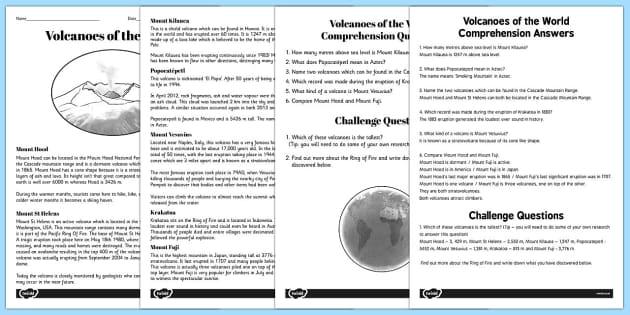 World Volcanoes Reading Comprehension Activity - volcano, worksheet