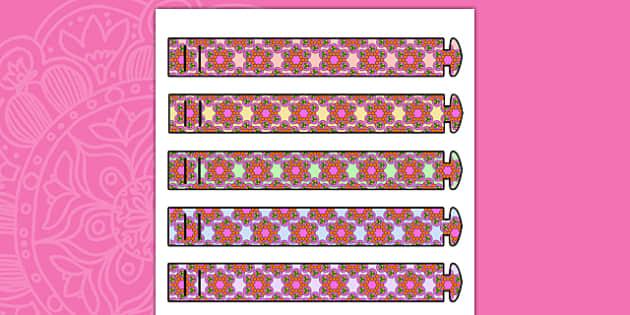 Rangoli Pattern Wristbands - patterns, diwali, hinduism, religion