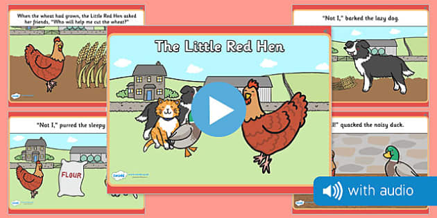 The Little Red Hen Narrated Story - audio, audio book, spoken, story, traditional tale, early years, ks1, key stage 1