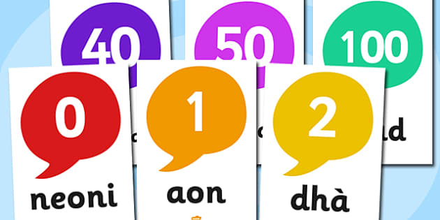 Scottish Gaelic Number Display Posters - Scottish Gaelic Number Display Posters, number display, poster, gaelic, Gaelic, Scottish, Scotland, Gaels, Celtic, language, old, numbers, number, numeracy, Maths, Math, counting, display, poster, sign
