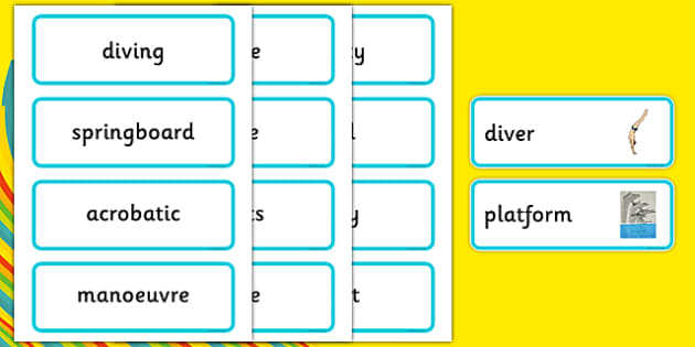 The Olympics Diving Word Cards - Diving, Olympics, Olympic Games, sports, Olympic, London, 2012, word card, flashcards, cards, activity, Olympic torch, events, flag, countries, medal, Olympic Rings, mascots, flame, compete