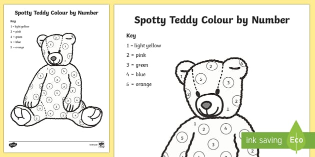 Spotty Teddy Colour by Number