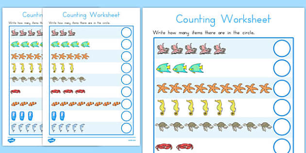 Sea Creature Themed Counting Worksheet - counting, sea creature