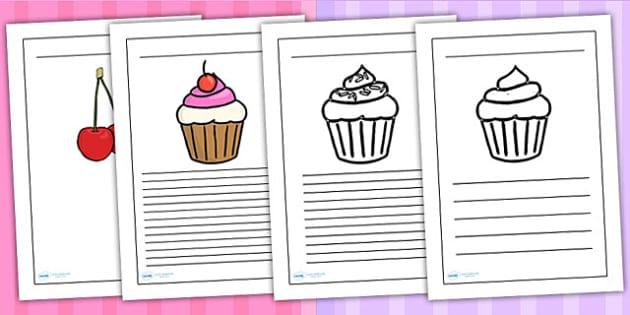 Cupcake Themed Writing Frames - writing templates, food, write