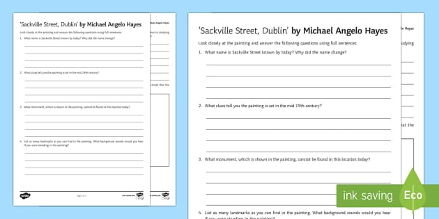 Sackville Street Dublin Art Appreciation Activity Sheet - Irish Art Resources, art strands, display resources, art appreciation, activity sheet, artist, perso