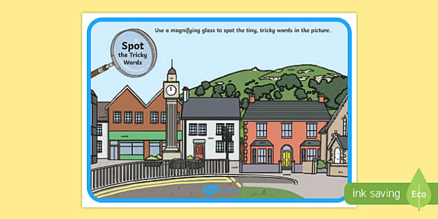 Phase 5 Tricky Words Town Scene Magnifying Glass Activity Sheet, worksheet