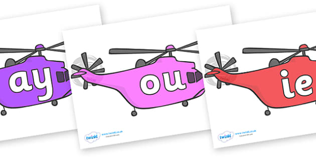 Phase 5 Phonemes on Helicopters - Phonemes, phoneme, Phase 5, Phase five, Foundation, Literacy, Letters and Sounds, DfES, display