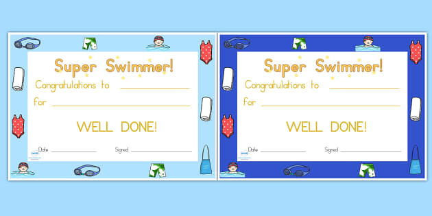 Swimming Certificates - swimming, certificates, awards, rewards