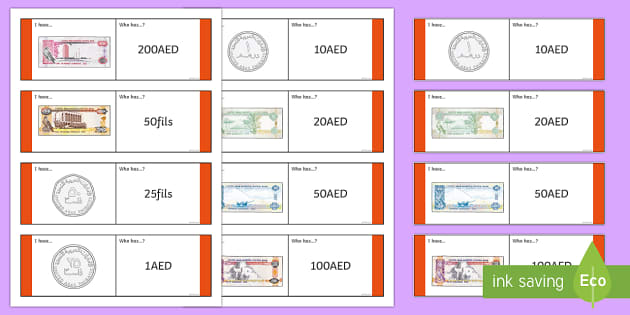 UAE Money Loop Cards - UAE Maths Resources, loop, cards, money, who has, calculation, flashcards