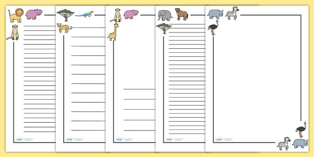 Safari Page Borders - Safari, Page border, border, writing Borders, lion, cheetah, puma, jaguar, rhino, hippo, elephant, giraffe, antelope