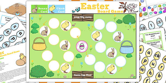 Phase 2 Sounds Easter Bunny Hop Board Game - activities, activity
