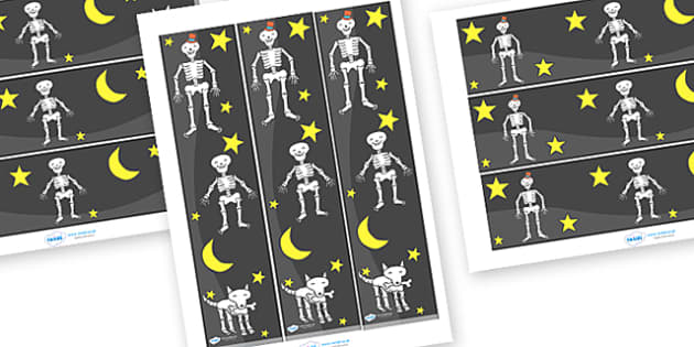 Display Borders to Support Teaching on Funnybones - Funny Bones, Janet and Alan Ahlberg, story, story book, story book resources, story sequencing, story resources, skeleton, our body, all about me, Display border, classroom border, border,