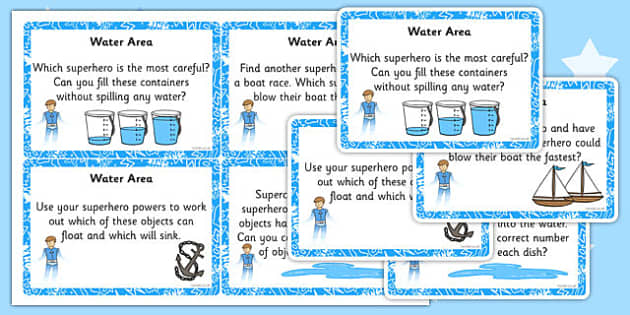 EYFS Superhero Themed Water Area Challenge Cards - superhero