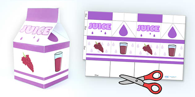 Grape Juice Carton Paper Craft Net Template - paper craft, props, nets