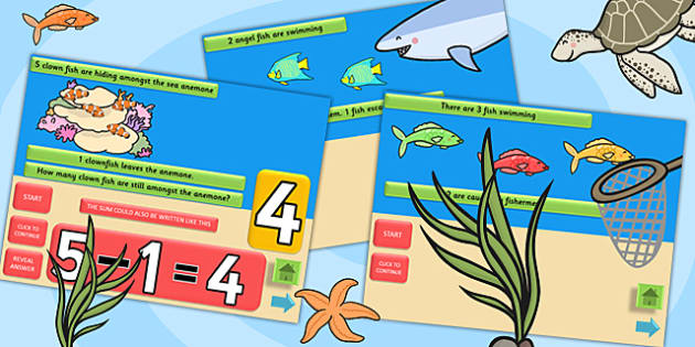 Under the Sea Themed Subtraction PowerPoint - take away, subtract