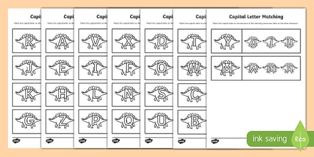 Dinosaur Themed Capital Letter Matching Worksheet - uppercase