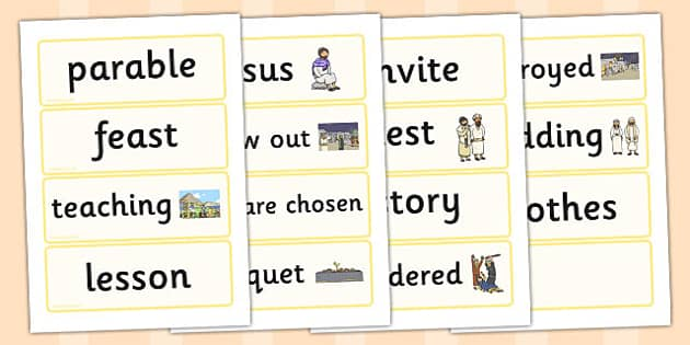 The Wedding Feast Word Cards - parable, wedding, feast, religion