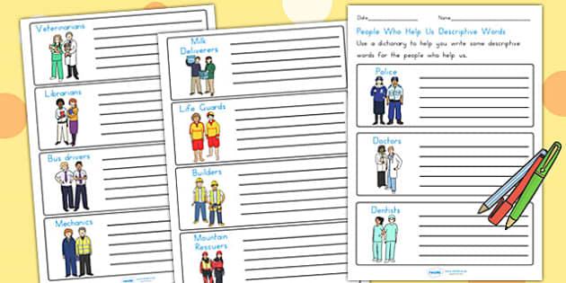 People Who Help Us Descriptive Words Worksheets - describing