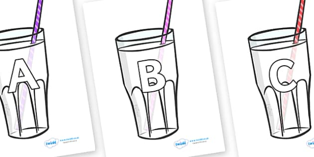 A-Z Alphabet on Milkshakes - A-Z, A4, display, Alphabet frieze, Display letters, Letter posters, A-Z letters, Alphabet flashcards