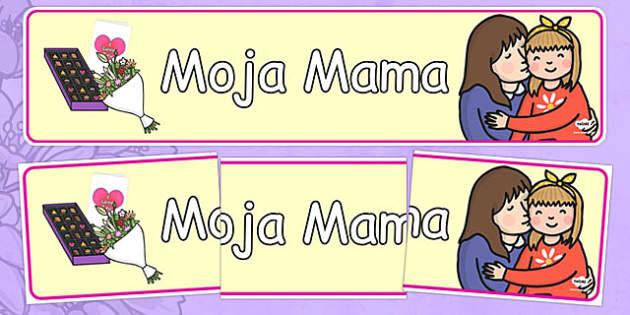 Banner na gazetkę Moja Mama po polsku - Dzień Matki, rodzina