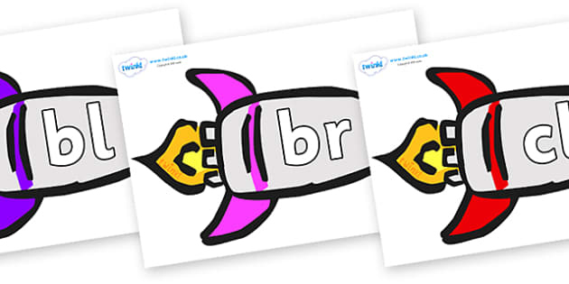 Initial Letter Blends on Rockets (Multicolour) - Initial Letters, initial letter, letter blend, letter blends, consonant, consonants, digraph, trigraph, literacy, alphabet, letters, foundation stage literacy