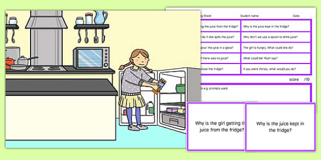 Kitchen Scene Blanks Level 4 Questions - receptive language, expressive language, verbal reasoning, language delay, language disorder, comprehension, autism