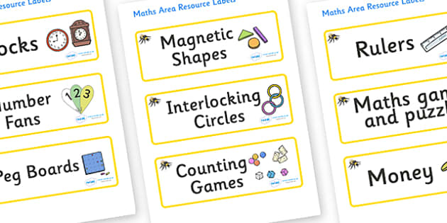 Busy Bee Themed Editable Maths Area Resource Labels - Themed maths resource labels, maths area resources, Label template, Resource Label, Name Labels, Editable Labels, Drawer Labels, KS1 Labels, Foundation Labels, Foundation Stage Labels, Teaching La