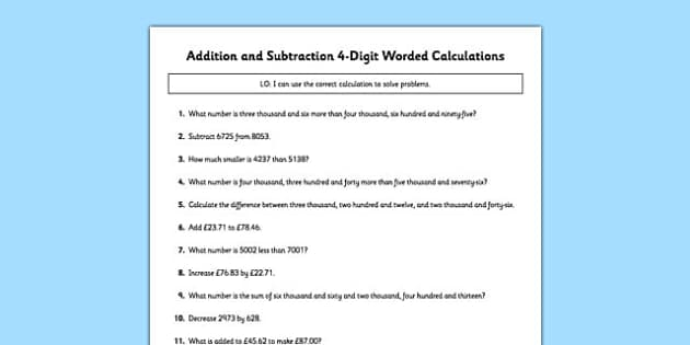 Addition and Subtraction 4 Digit Worded Calculations - addition, subtraction, 4 digit, worded, calculations