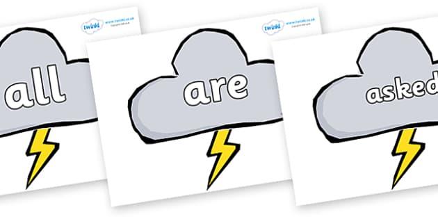 Tricky Words on Weather Symbols (Stormy) - Tricky words, DfES Letters and Sounds, Letters and sounds, display, words