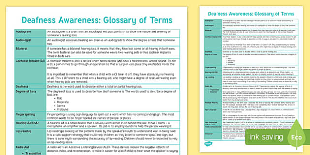 Deaf Awareness Glossary of Terms