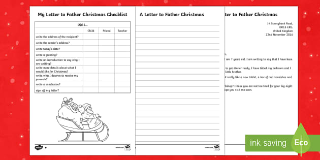 KS1 Differentiated Letter to Father Christmas Writing Sample – Xmas Letter Template