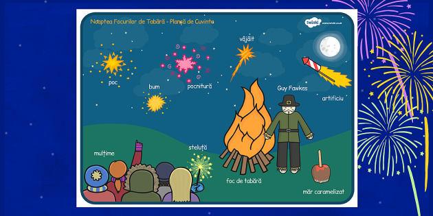 Noaptea Focurilor de Tabără - Planșă vocabular
